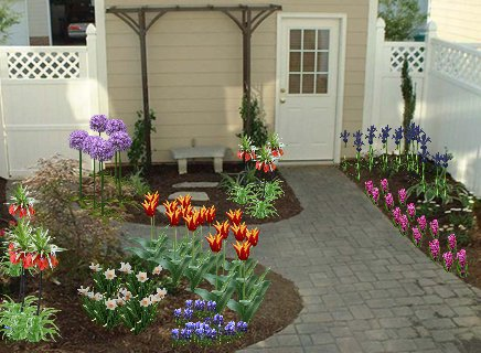 Bulb Garden Design On Well Planned Such As This Back Door Plan Is Just