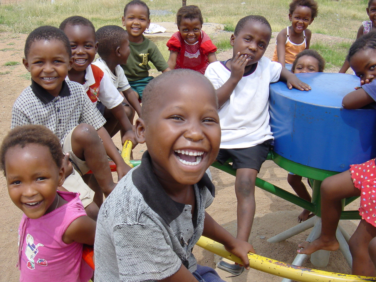 African children show off one of their new PlayPumps  174 Happy African Children With Food