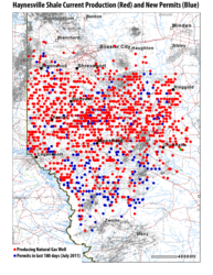 Invest in Oil and Gas Mineral Rights and Royalties - Haynesville Shale Current Production Map