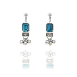 Fiorelli Striking Blue Cubic Zirconia and Beads Clip On Earrings