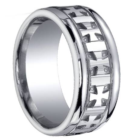 designer silver cross design ringdesigner silver cross design wedding ring with polished finish 10mm - Mens Designer Wedding Rings