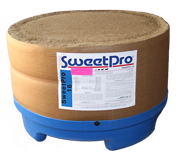 SweetPro 16 non-molasses lick block in 250 lb tub, made from distillers' grains.