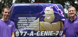 Scot Anderson (right), Window Genie Leesburg, Florida, and his technician AJ, display his eye-catching Geniemobile
