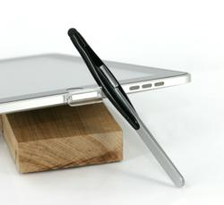 XStylus Touch (glossy black) and the crystal clear magnetic pen holder with an iPad 1
