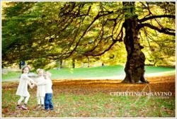 Children Play Under Beautiful Autumn Tree - Central Park NYC - NYC Child Photographer Christine DeSavino