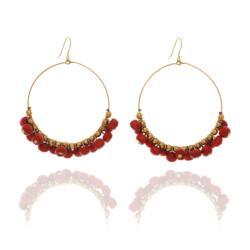 Look East Apple Blossom Beaded Hoop Earrings