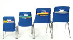 new and improved chair pocket, school table and desk organizer for school supplies, books, papers and more.