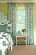 Fan-pleated curtains in Aviary bedroom fit window perfectly--custom-made by CurtainsMade4U.