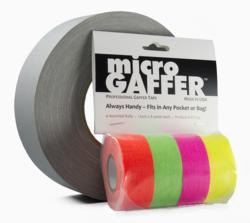 A fluorescent color pack of microGAFFER compared to a typical roll of duct tape