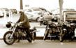 Ewan McGregor arrives to I Am ZoZo on his Hammarhead Ural motorcycle