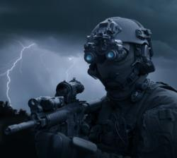 Special operations forces soldier equipped with night vision.
