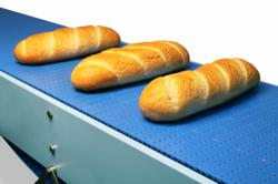 Bakery products moved by DynaClean Food Grade Conveyor