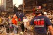 Firefighters form a bucket brigade at Ground Zero