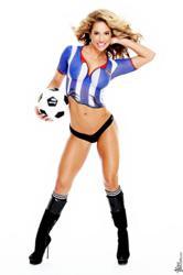 International Fitness Celebrity Jennifer Nicole Lee Soccer Theme Body Paint