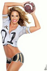 Super Fitness Model Jennifer Nicole Lee Body Paint Calendar Football Theme Photo