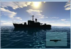 A reflection of a ship on the ocean, created by Triton 1.1. The inset is the reflection texture used.