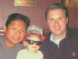 Co-founders of The Pop Luck Club, Ron Gamboa, Dan Brandhorst and their 3-year old son David.