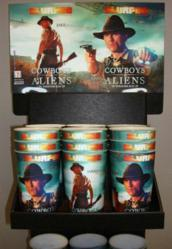 "Lenticular printing brings the ""WOW factor"" to retail displays and merchandise, shown in a 7-Eleven®, Cowboys & Aliens Movie promotion."