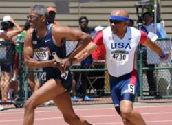 Ralph Peterson 4x100m relay handoff