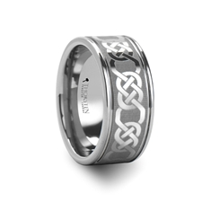 BOSTON Laser Engraved Tungsten Band with Celtic Pattern Wide - 10 mm