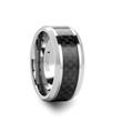 INDIANAPOLIS Carbon Fiber Inlay Black Tungsten Carbide Wedding Band - 10mm