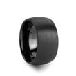 MILWAUKEE Domed Black Tungsten Wedding Band with Brushed Finish - 12 mm