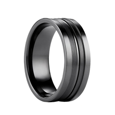 DONOVAN Benchmark Polished Black Titanium Wgeddin Ring with Dual Satin Finish Grooves - 8mm
