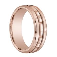 ANTARES Carved Rectangular Center 18K Rose Gold Ring by Benchmark - 7.5mm