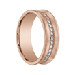 CARMINE Benchmark Concave Brushed Finish 18K Rose Gold Ring with Diamonds - 7.5 mm