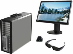 NextComputing's Nucleus graphics workstation with Planar 3D monitor and NVIDIA 3D glasses and emitter
