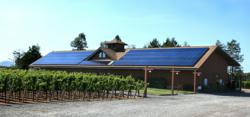 Solar panels line the roof of Benovia Winery's Russian River Valley facility.