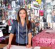 Kristen O'Connell preparing skirt patterns based on customer measurements.