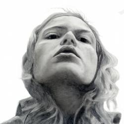"""Charcoal portrait of actress Jillaine Gill drawn by Gayle Madeira for the movie """"Prayer to a Vengeful God"""" -film by Dan Eberle"""