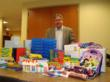 Marc Rubin with the supplies purchased for the students of Deep Run Elementary school.