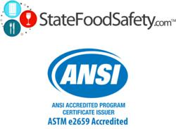 StateFoodSafety.com receives ANSI certification to deliver California Food Handler Training and California Food Handler Cards.