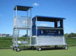 DONKEY Ultimate Media Package shown  with Bird's Nest Video Tower attached to a DONKEY-2 model with optional storage, windscreens and penalty bench