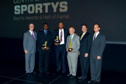 "Central Florida Sports Hall of Fame Class of 2011 from left to right: Ricky Watters, Glenn ""Doc"" Rivers and Chuck Rohe. Also pictured from left to right: Garry Jones – Full Sail University President, Ray White – PNC Wealth Management Senior Vice President & Wealth Management Director and Sam Stark – Central Florida Sports Commission President & CEO."