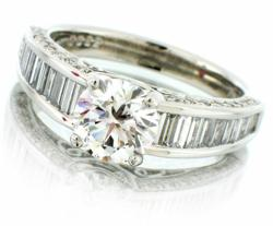 D color, IF clarity diamond in a Natalie K designer platinum setting