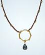 24K Gold Vermeil and London Blue Topaz handwoven on waxed linen - gorgeous artisan jewelry