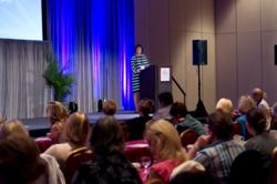 Sharon Gentry, RN, MSN, AOCN, CBCN, opens the Second Annual Navigation and Survivorship Conference