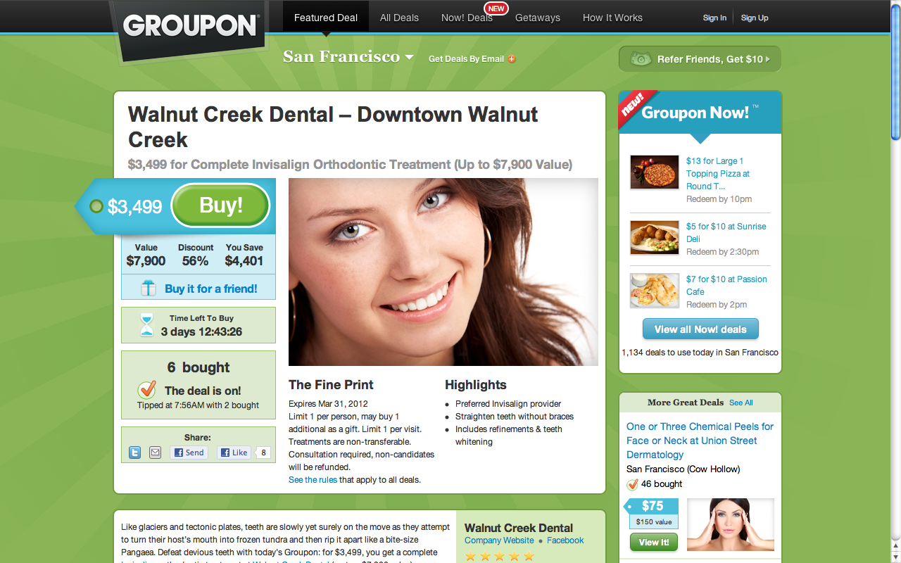 3 499 For 7 900 Walnut Creek Dental Announces Groupon
