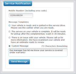 AutoReady allows templated or custom text messages to be sent quickly