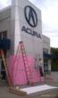 Smail Acura In Greensburg Getting Wrapped in Pink Vinyl