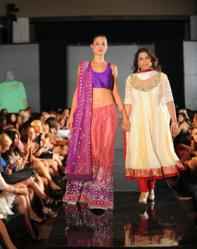 Designer Parna Ghose with model in Indian traditional bridal lehenga
