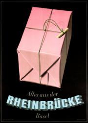 Peter Birkhauser, rheinbrucke, vintage poster, object poster, swiss poster