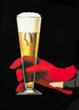 Beer glass with red glove by Peter Birkhauser