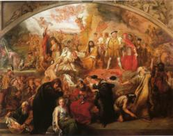 Sir John Gilbert depicts characters from the works of Shakespeare in his painting The Plays of William Shakespeare (1849)