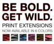 These exotic print extensions provide a great pop of color & texture to the hair.