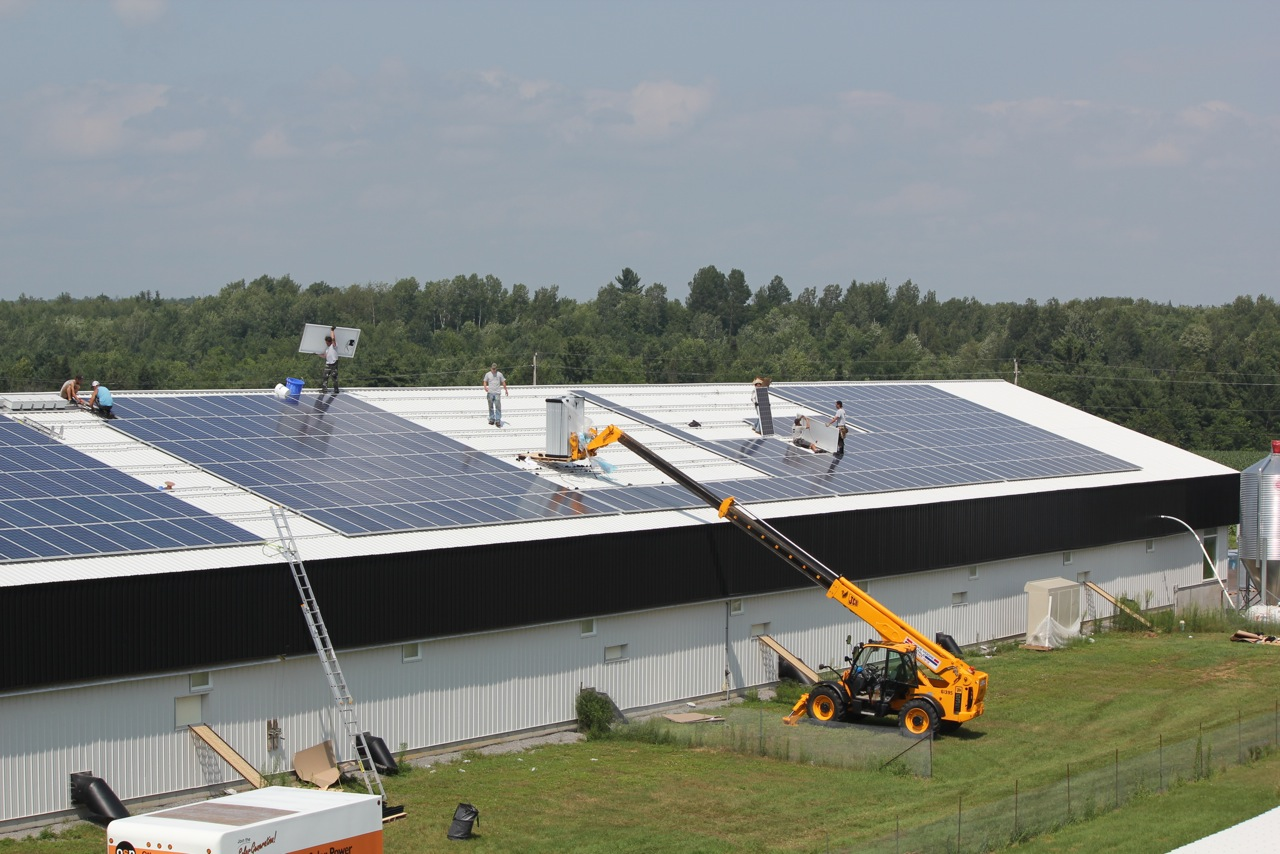 Ottawa Solar Power installing Conergy ON modules at Drouin Farms
