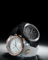 Acrilic cases with a combination of steel , mother of pearl, and Swiss movements (retails for $281)